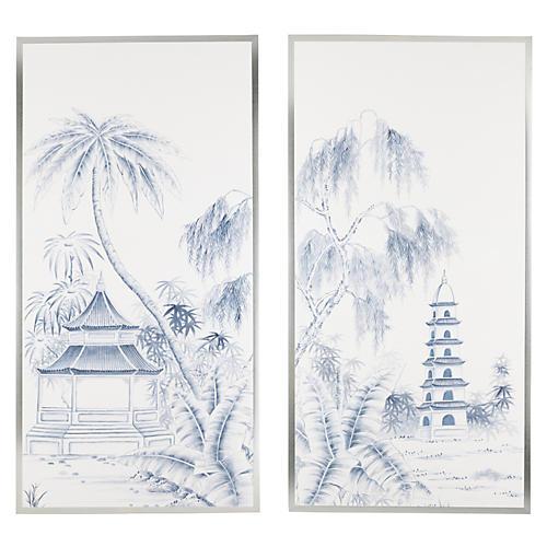 Blue Pagoda Diptych