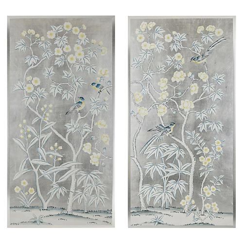 , Pale Blue/Yellow on Silver Leaf
