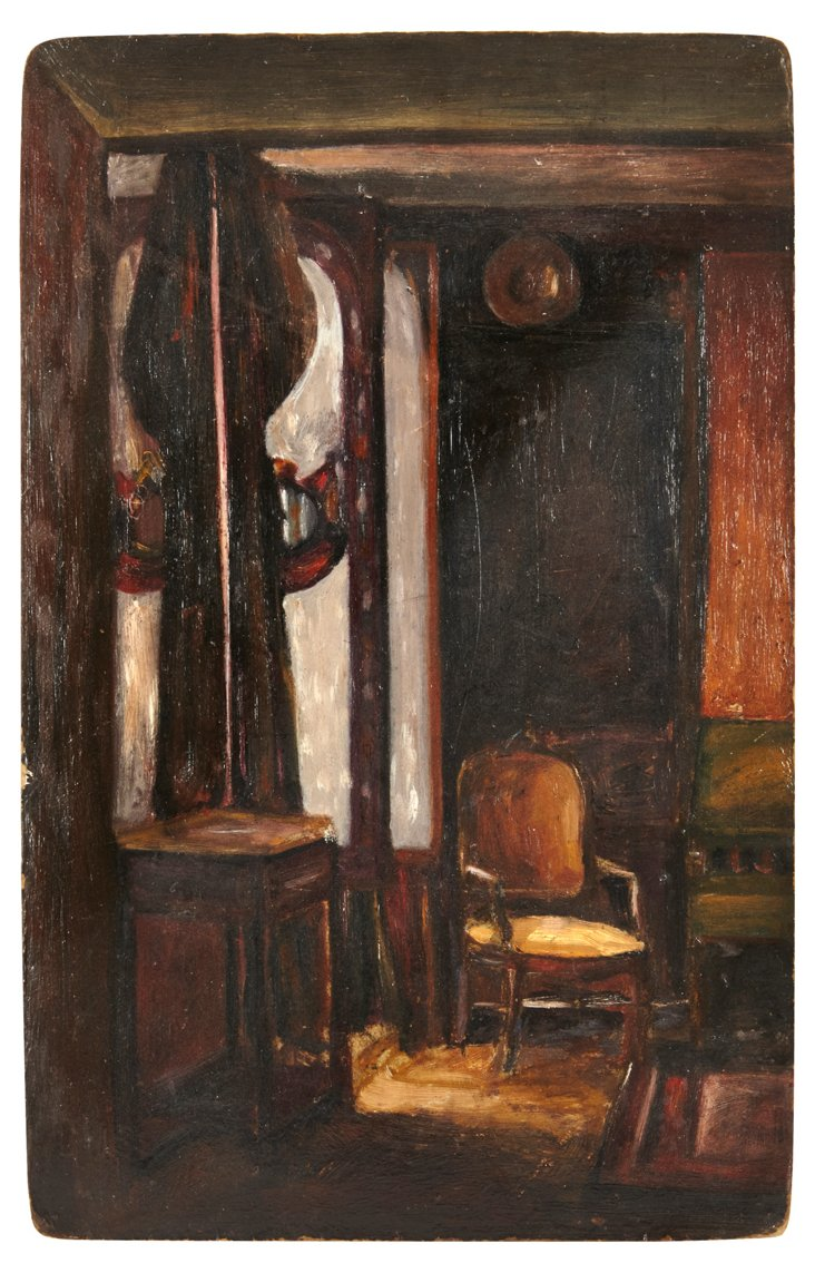 Oil Painting, Interior Scene with Chair