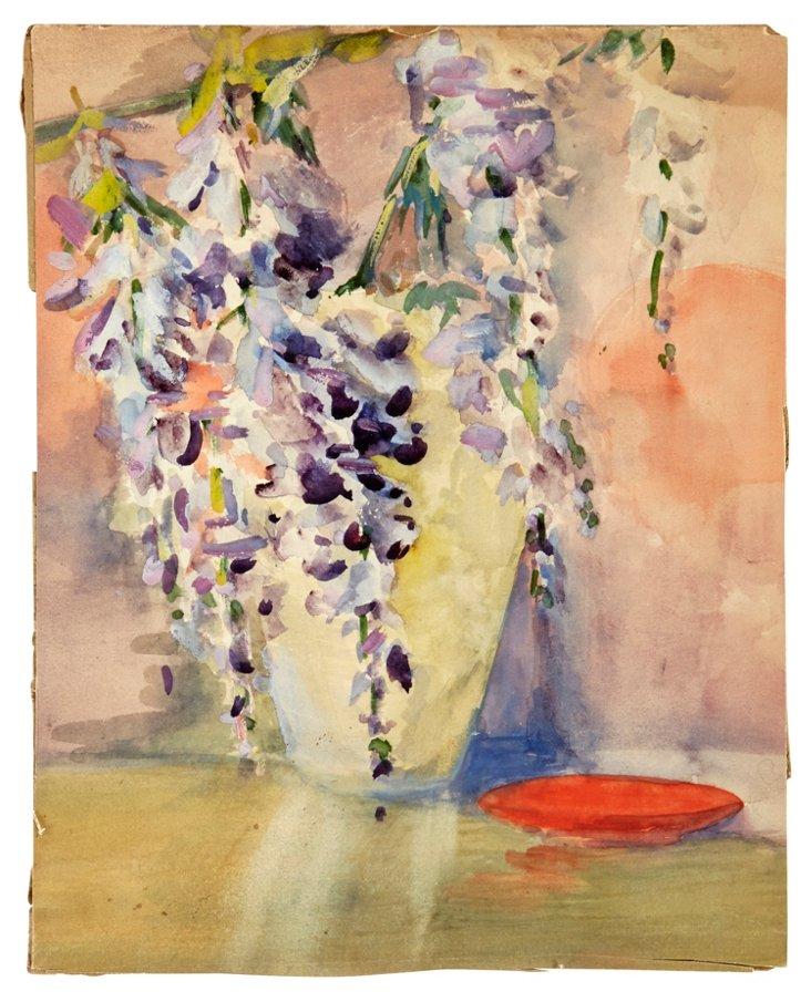 Watercolor on Paper, Wisteria