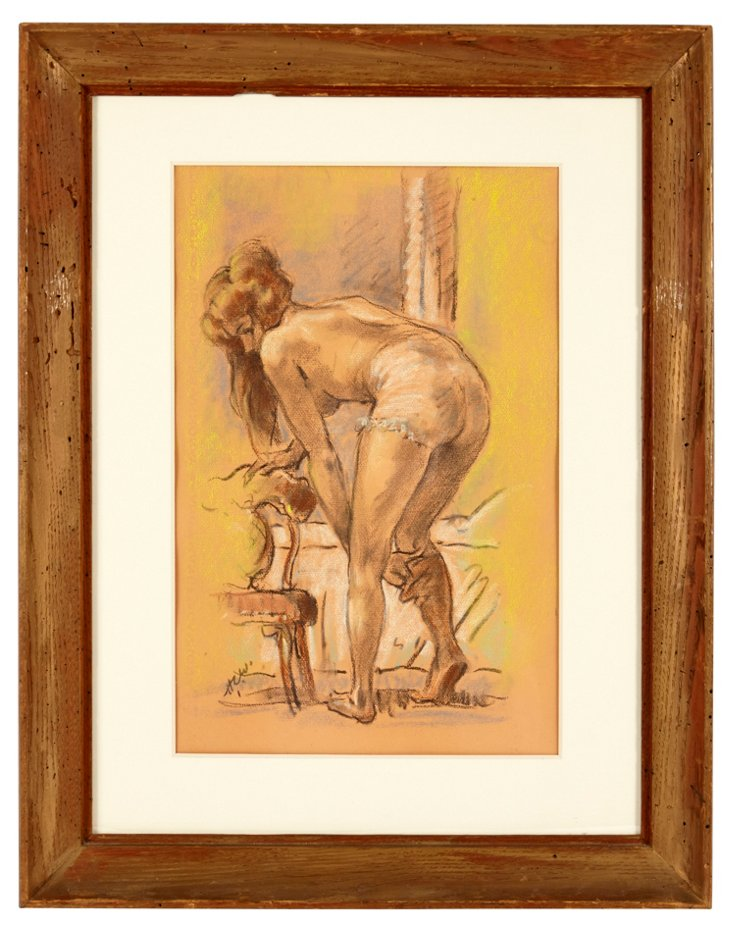 Pastel on Paper, Figure in Dressing Room
