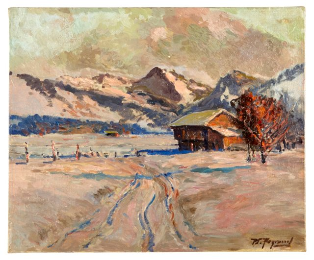 Oil Painting, Red Barn & Alps