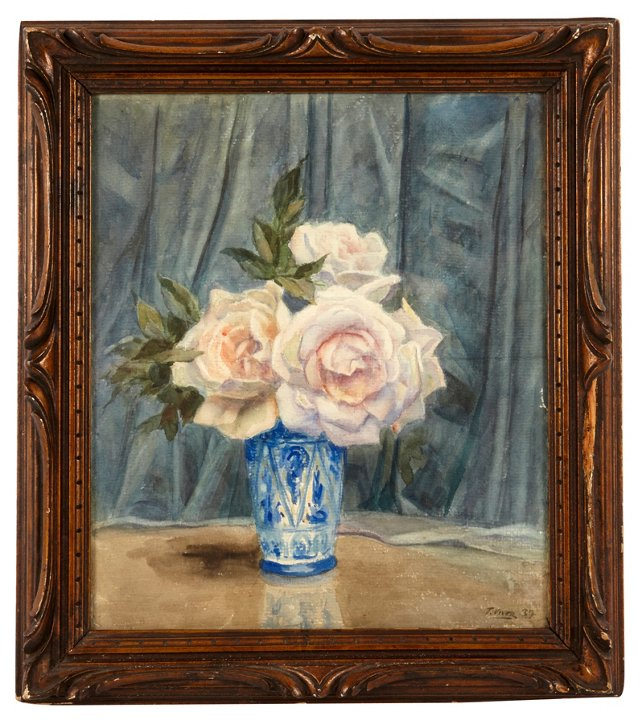 Watercolor, Pink Roses in Chinese Vase