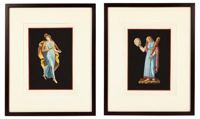 Antique Engravings of Frescos, Pair I