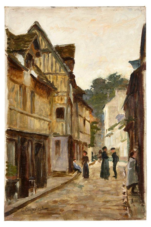 Street Scene in Alsace-Lorraine Village