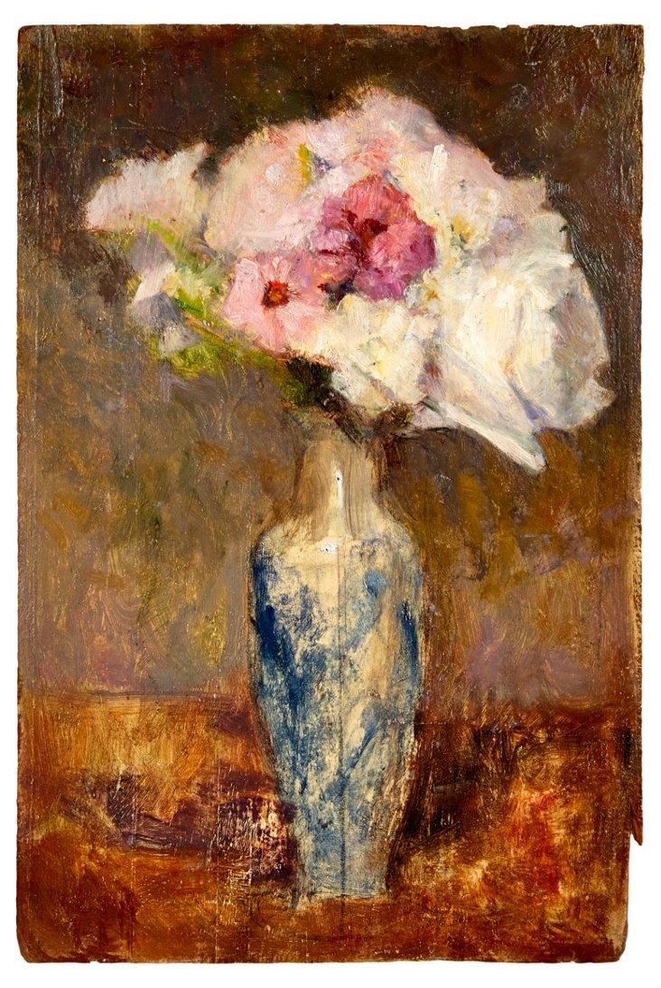 Pink Bouquet in Blue Vase