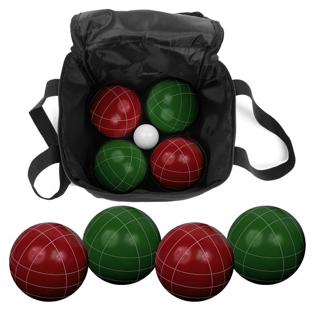 9-Piece Bocce Ball Set, Green/Red