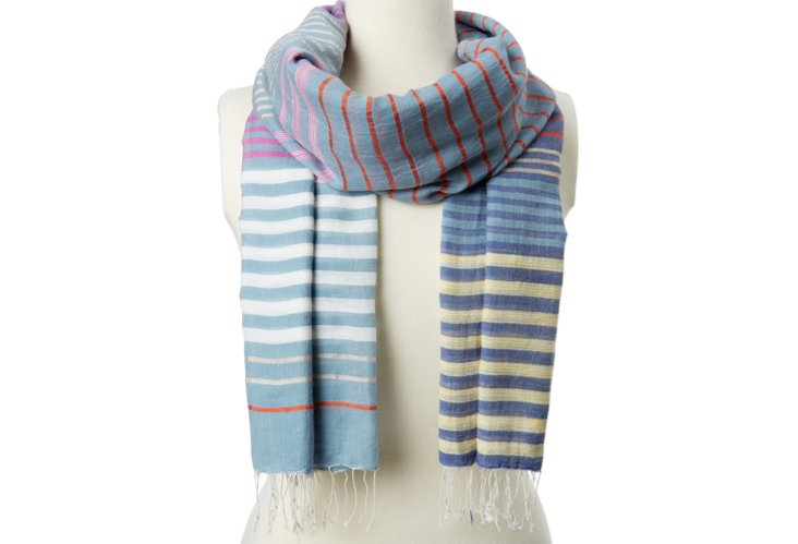 Multi-Stripe Scarf, Blue