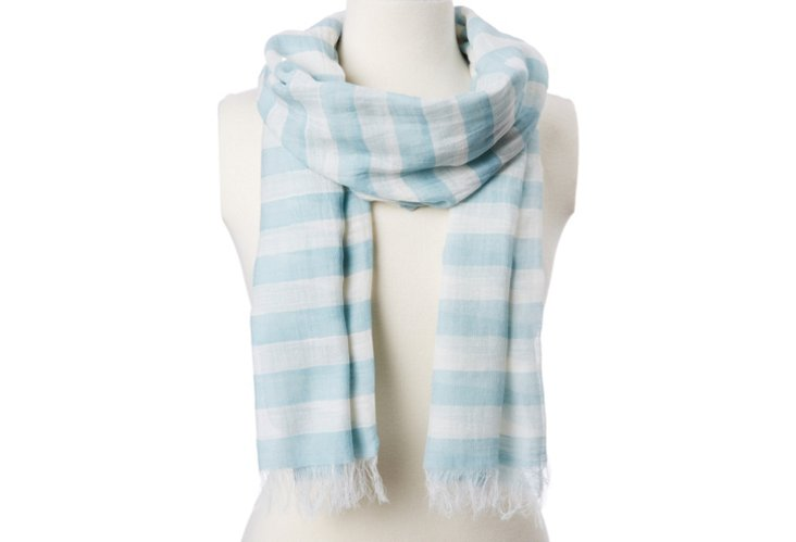 Two-Tone Stripe Scarf, Blue & White