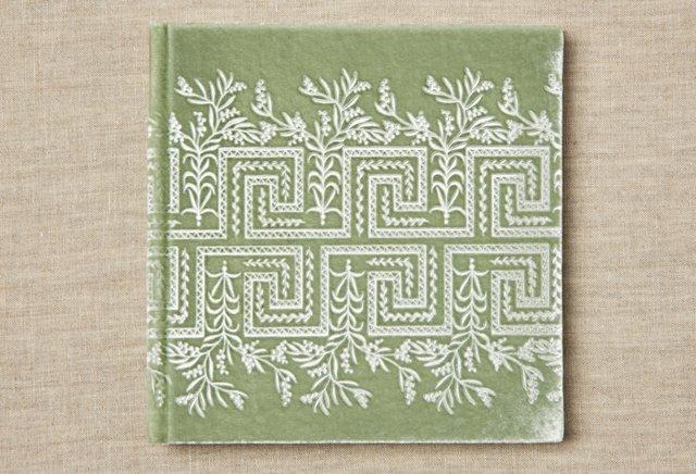 "7"" Greek Floral Photo Album, Sea Green"