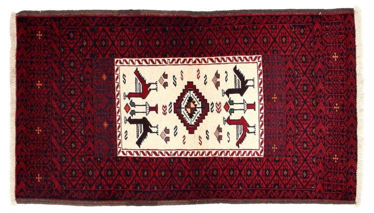 "2'8""x4'9"" Yunak Flat-Weave Rug, Red"