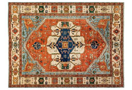 9'x12' Ziegler Oriental Rug, Blue/Red
