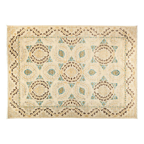 "6'4""x8'9"" Suzani Rug, Beige/Brown"