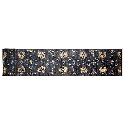"2'9""x12' Eclectic Runner, Black"