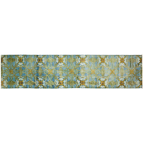 "3'3""x14'1"" Eclectic Runner, Blue"