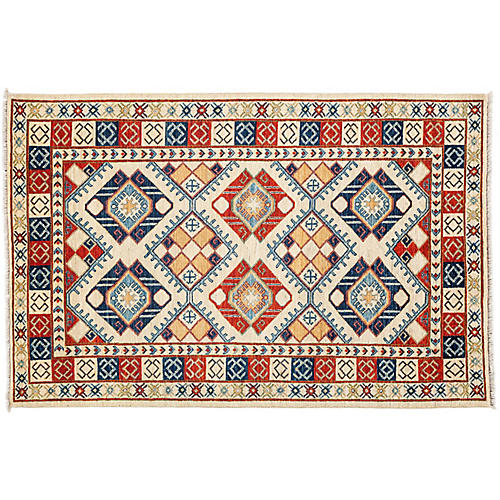 "4'10""x7'6"" Ersari Rug, Red/Blue"