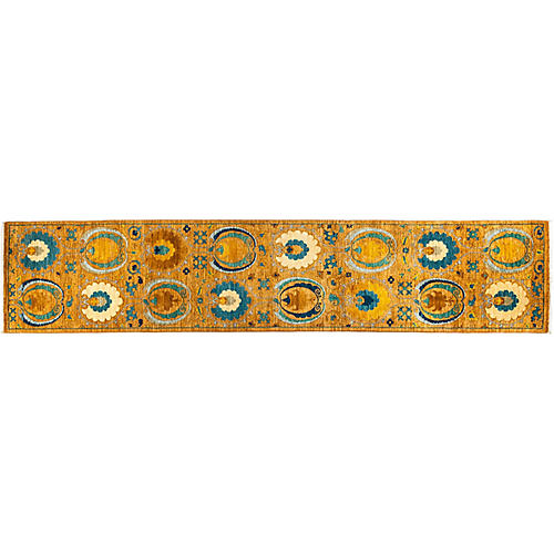 "2'6""x12'8"" Suzani Runner, Yellow"