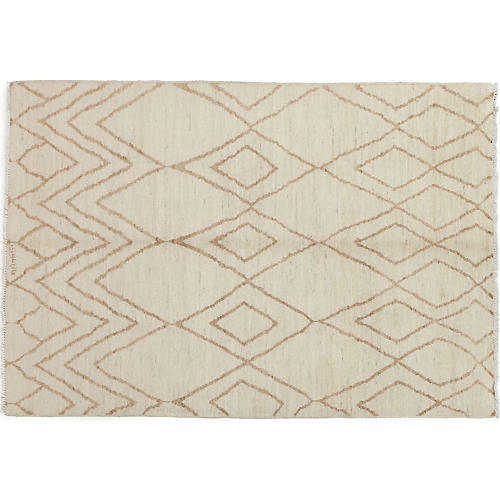 "6'2""x8'10"" Moroccan Rug, Ivory"