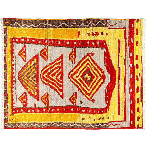 "7'10""x9'10"" Tullu Rug, Yellow/Red"
