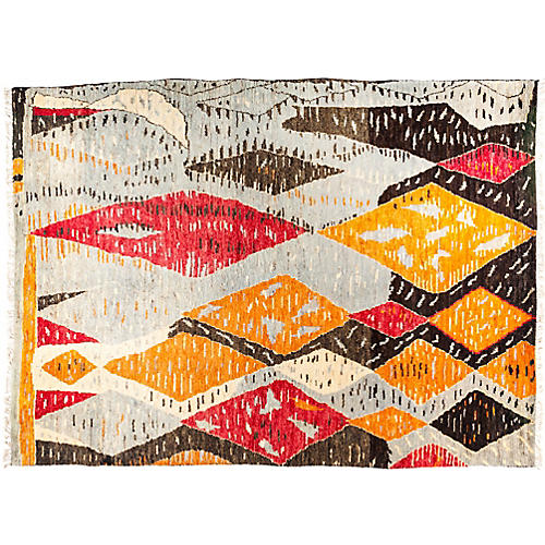 "9'x12'4"" Tullu Rug, Gray/Orange"