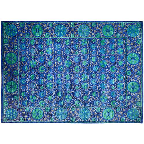 "10'4""x14'2"" Suzani Rug, Dark Blue/Green"