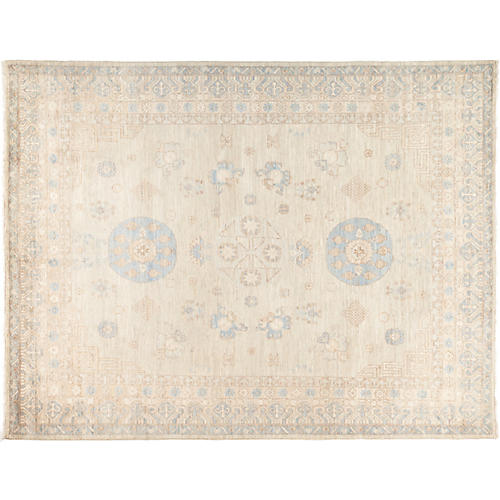 "7'10""x10'2"" Khotan Rug, Beige/Light Blue"
