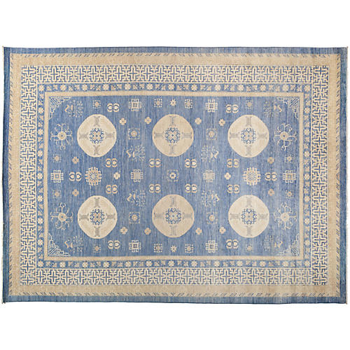 "9'10""x13'2"" Khotan Rug, Blue/Cream"
