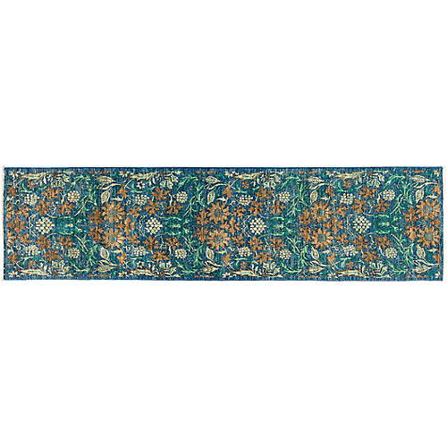 "2'6""x9'7"" Eclectic Runner, Green/Multi"