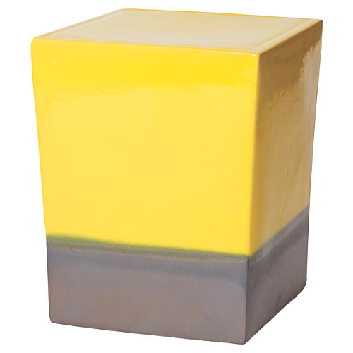 Tacitus Square Cube Stool, Yellow
