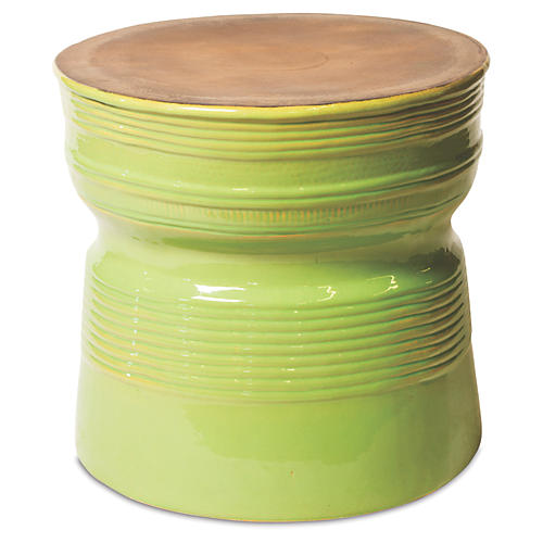 Genoa Side Table, Apple Green/Metallic
