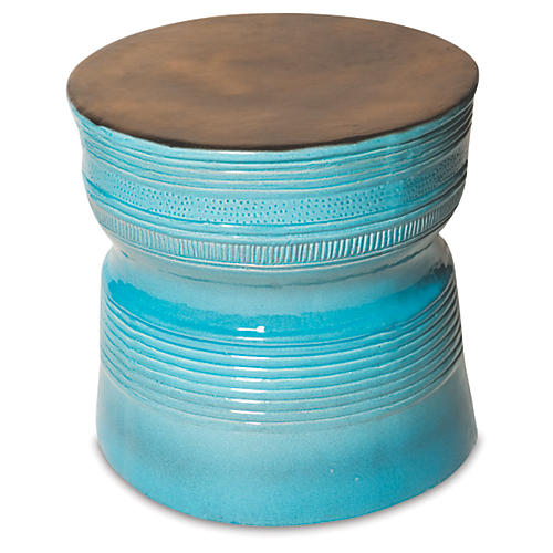 Genoa Side Table, Turquoise/Metallic