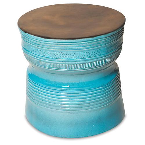 Genoa Side Table, Turquoise/Metallic