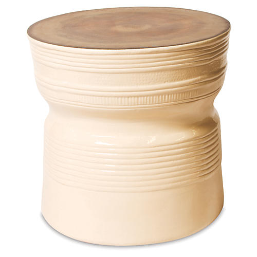 Genoa Side Table, Cream/Metallic