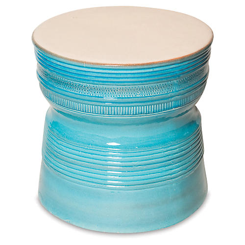 Genoa Side Table, Turquoise/Cream