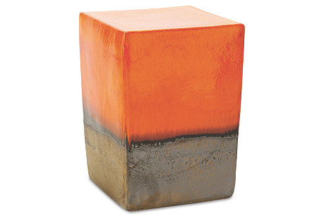 Tacitus Square Cube Stool, Orange