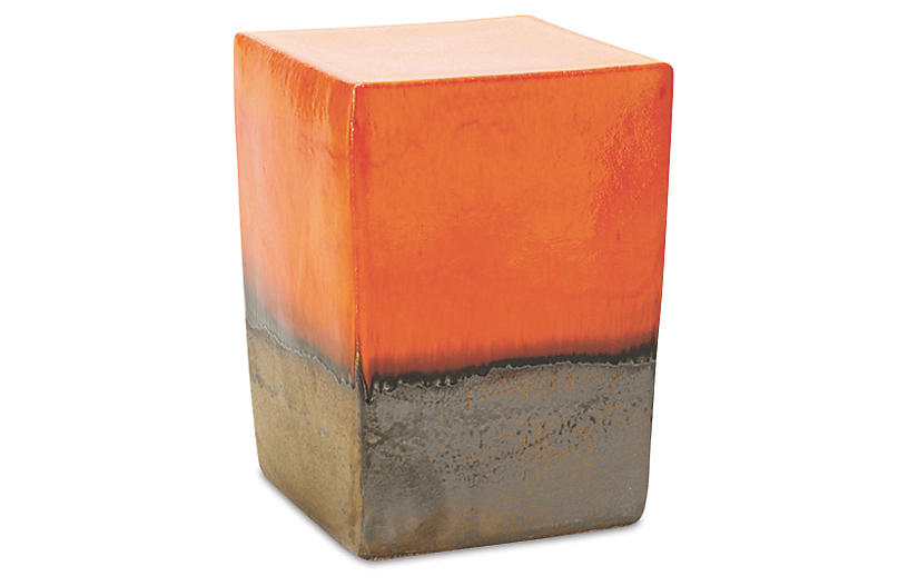 Tacitus Square Cube Stool, Orange