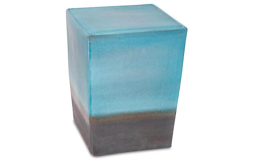 Tacitus Square Cube Stool, Turquoise