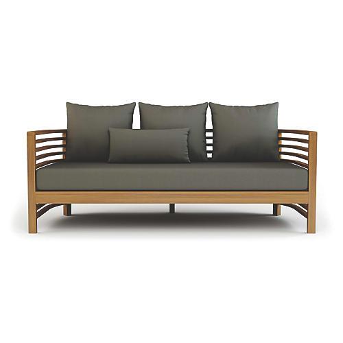 Spirals Outdoor Sofa, Gray Sunbrella