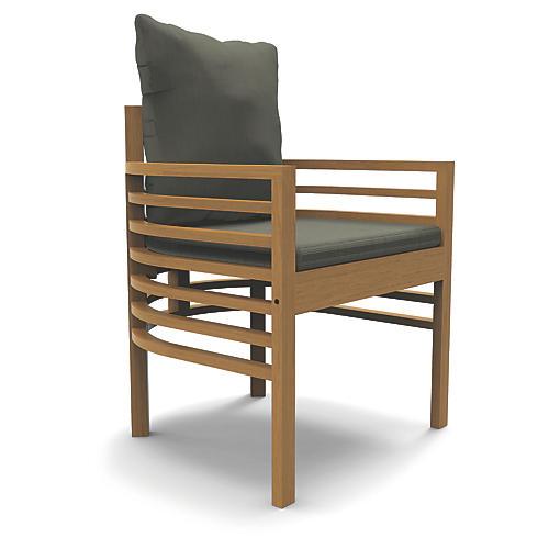 Spirals Outdoor Armchair, Gray Sunbrella
