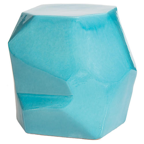 Geo Outdoor Side Table, Turquoise