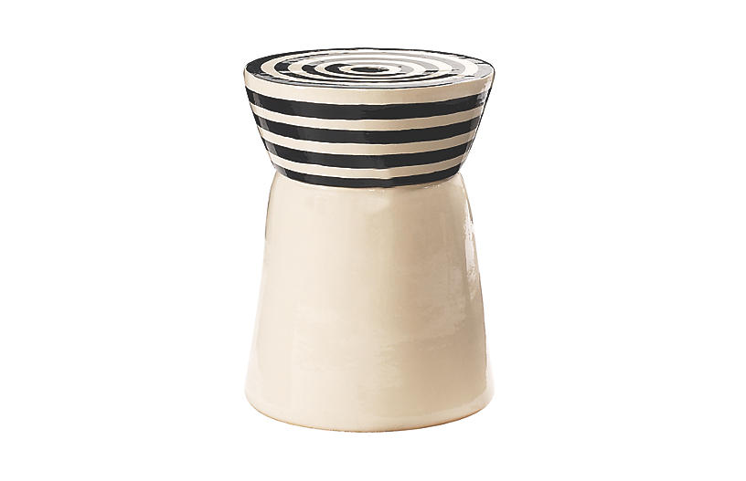 Cork Outdoor Side Table, White