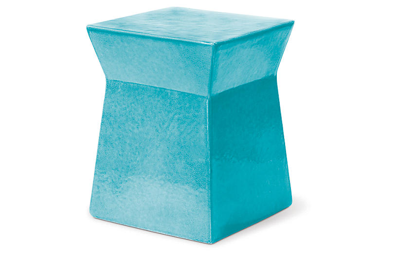 Ashlar Outdoor Side Table, Turquoise