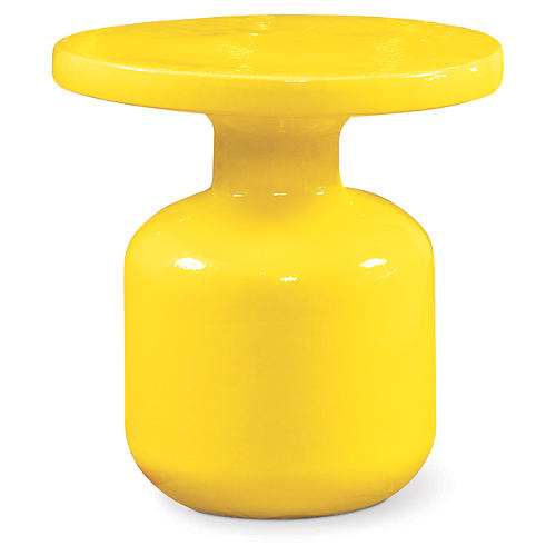 Bottle Outdoor Side Table, Yellow