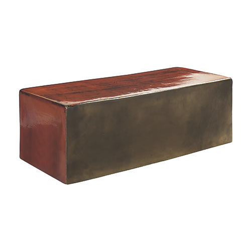 Heritage Outdoor Coffee Table, Antiqued Red