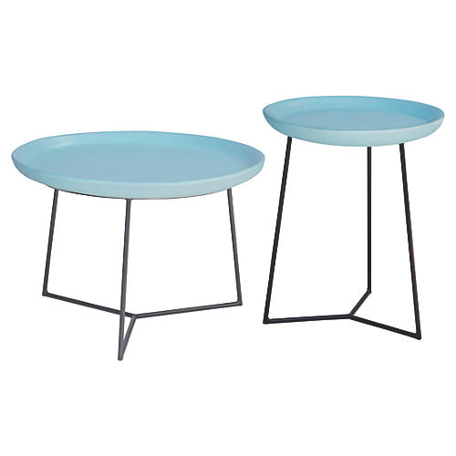 Asst. of 2 Link Outdoor Side Table, Egg Blue