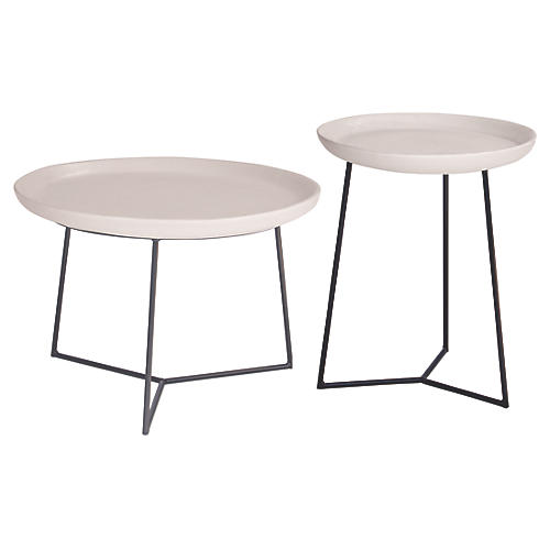 Asst. of 2 Link Outdoor Side Table, Linen White