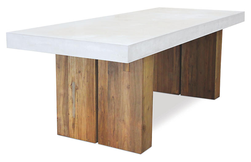 Olympus Concrete Dining Table, Pearl