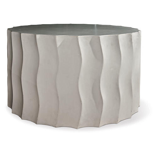Wave Wide Concrete Side Table, Gray