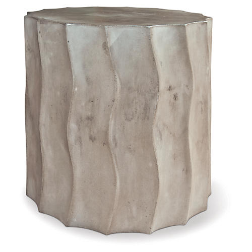 Wave Short Concrete Side Table, Gray