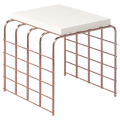 Mesh-Link Outdoor Side Table, Pearl White